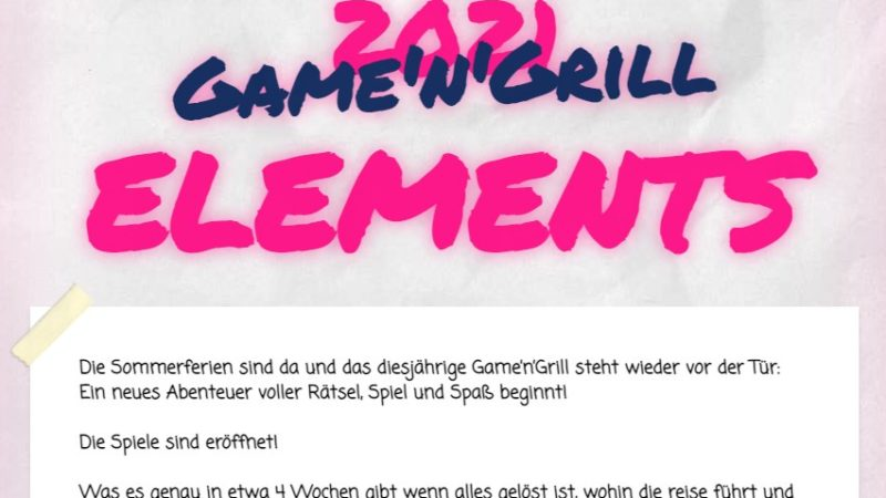Game'n'Grill 2021 – 💦🔥 ELEMENTS 🌎🌪